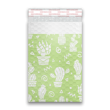 Load image into Gallery viewer, 6x9 Green Cactus Designer Self Seal Poly Bubble Mailers Shipping Envelopes Custom Boutique Padded Bags