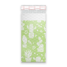 Load image into Gallery viewer, 4x8 Green Cactus Designer Self Seal Poly Bubble Mailers Shipping Envelopes Custom Boutique Padded Bags
