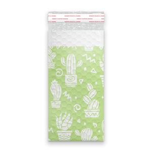 4x8 Green Cactus Designer Self Seal Poly Bubble Mailers Shipping Envelopes Custom Boutique Padded Bags