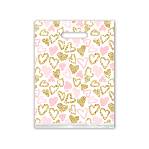 9x12 Pink and Gold Hearts Designer Poly Plastic Merchandise Bags Premium Printed Bags