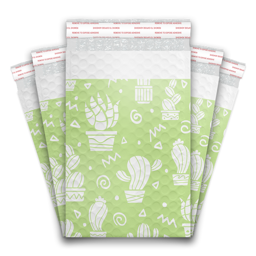 6x9 Green Cactus Designer Self Seal Poly Bubble Mailers Shipping Envelopes Custom Boutique Padded Bags