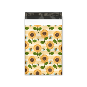 "6x9"" Sunflowers and Bumble Bees Designer Poly Mailers Shipping Envelopes Premium Printed Bags"