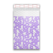 Load image into Gallery viewer, 6x9 Purple Mermaids Designer Self Seal Poly Bubble Mailers Shipping Envelopes Custom Boutique Padded Bags
