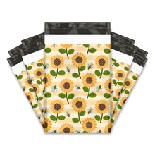 "Load image into Gallery viewer, 6x9"" Sunflowers and Bumble Bees Designer Poly Mailers Shipping Envelopes Premium Printed Bags"