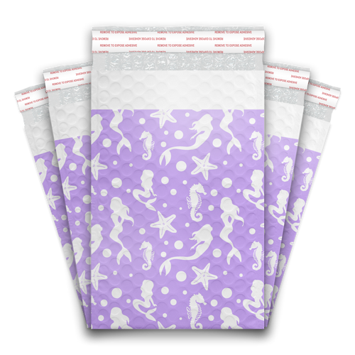 6x9 Purple Mermaids Designer Self Seal Poly Bubble Mailers Shipping Envelopes Custom Boutique Padded Bags