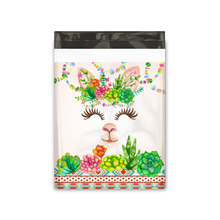Load image into Gallery viewer, 10x13 Watercolor Llama & Succulents Designer Poly Mailers Shipping Envelopes Premium Printed Bags