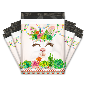 10x13 Watercolor Llama & Succulents Designer Poly Mailers Shipping Envelopes Premium Printed Bags
