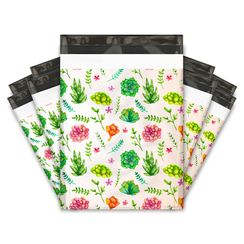 10x13 Succulents Designer Poly Mailers Shipping Envelopes Premium Printed Bags