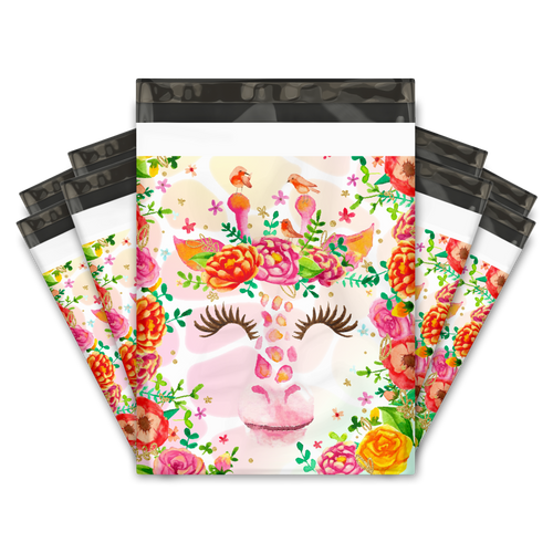 10x13 Floral Giraffe Designer Poly Mailers Shipping Envelopes Premium Printed Bags