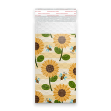 Load image into Gallery viewer, 4x8 Sunflowers and Bees Designer Self Seal Poly Bubble Mailers Shipping Envelopes Custom Boutique Padded Bags