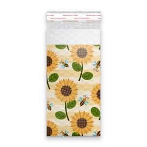 4x8 Sunflowers and Bees Designer Self Seal Poly Bubble Mailers Shipping Envelopes Custom Boutique Padded Bags