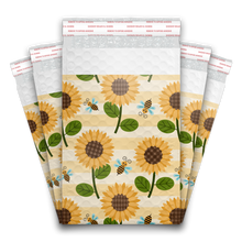 Load image into Gallery viewer, 6x9 Sunflowers and Bees Designer Self Seal Poly Bubble Mailers Shipping Envelopes Custom Boutique Padded Bags