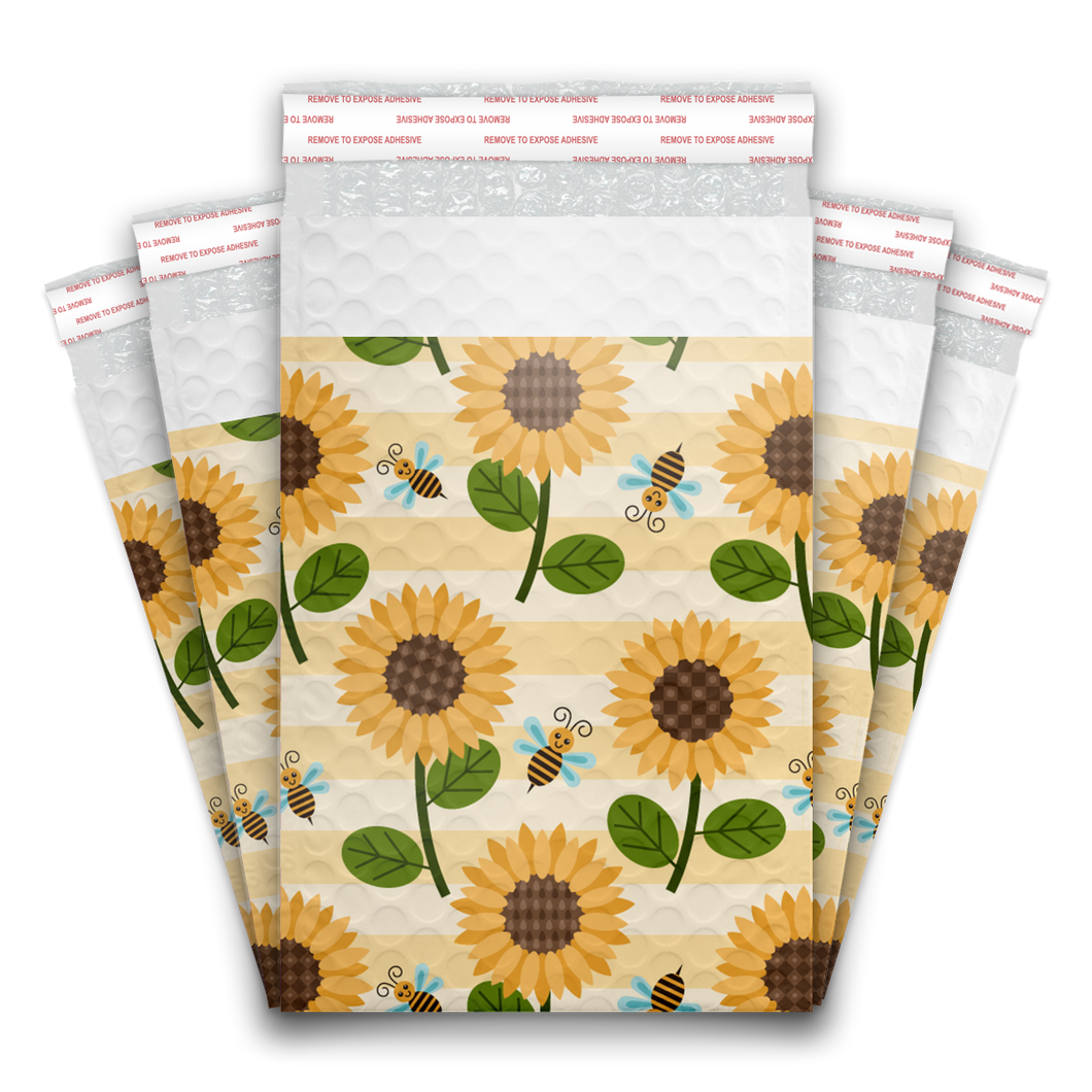 6x9 Sunflowers and Bees Designer Self Seal Poly Bubble Mailers Shipping Envelopes Custom Boutique Padded Bags