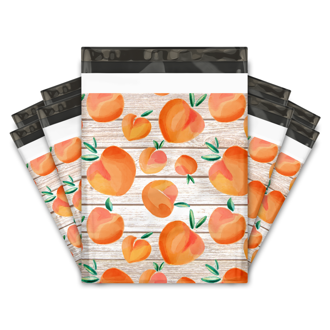 10x13 Peaches Designer Poly Mailers Shipping Envelopes Premium Printed Bags