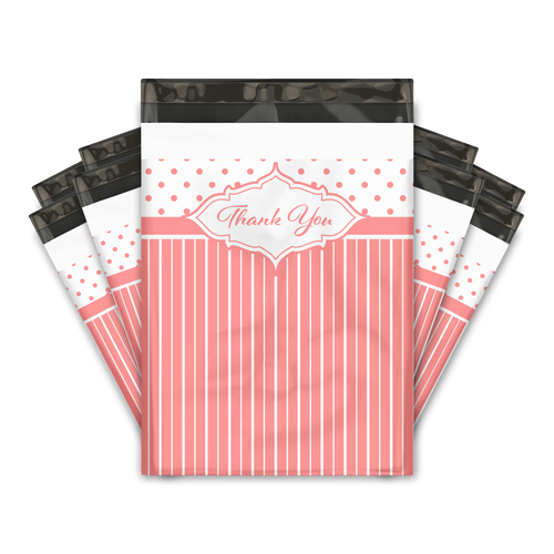 10x13 Pink Thank You Stripes Polka Dots & Chevron Poly Mailers Shipping Envelopes Premium Printed Bags