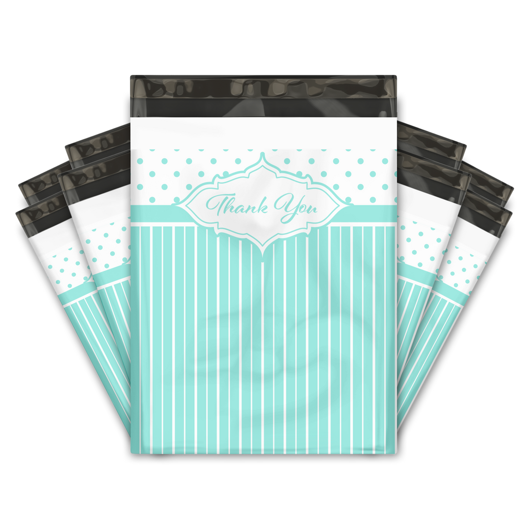 10x13 Turquoise Thank You Stripes Polka Dots & Chevron Poly Mailers Shipping Envelopes Premium Printed Bags