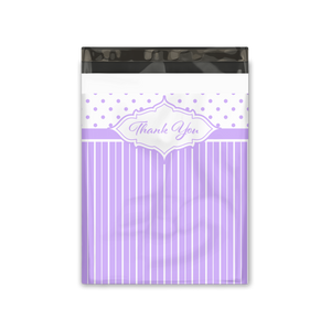 10x13 Purple Thank You Stripes Polka Dots & Chevron Poly Mailers Shipping Envelopes Premium Printed Bags