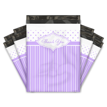 Load image into Gallery viewer, 10x13 Purple Thank You Stripes Polka Dots & Chevron Poly Mailers Shipping Envelopes Premium Printed Bags