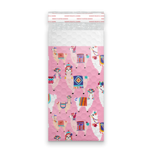 Load image into Gallery viewer, 4x8 Llamas Designer Self Seal Poly Bubble Mailers Shipping Envelopes Custom Boutique Padded Bags