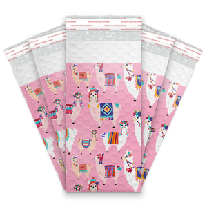 4x8 Llamas Designer Self Seal Poly Bubble Mailers Shipping Envelopes Custom Boutique Padded Bags