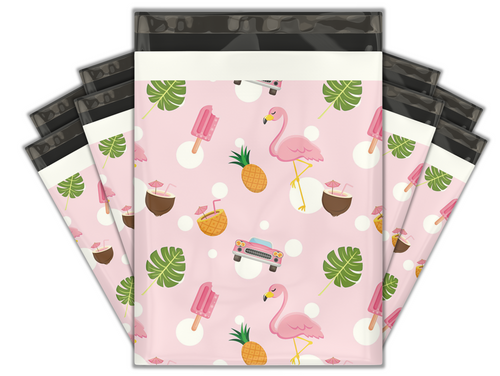 10x13 Fancy Flamingo Designer Poly Mailers Shipping Envelopes Premium Printed Bags
