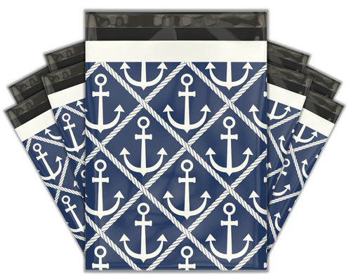 10x13 Ahoy! Nautical Sailor Designer Poly Mailers Shipping Envelopes Premium Printed Bags