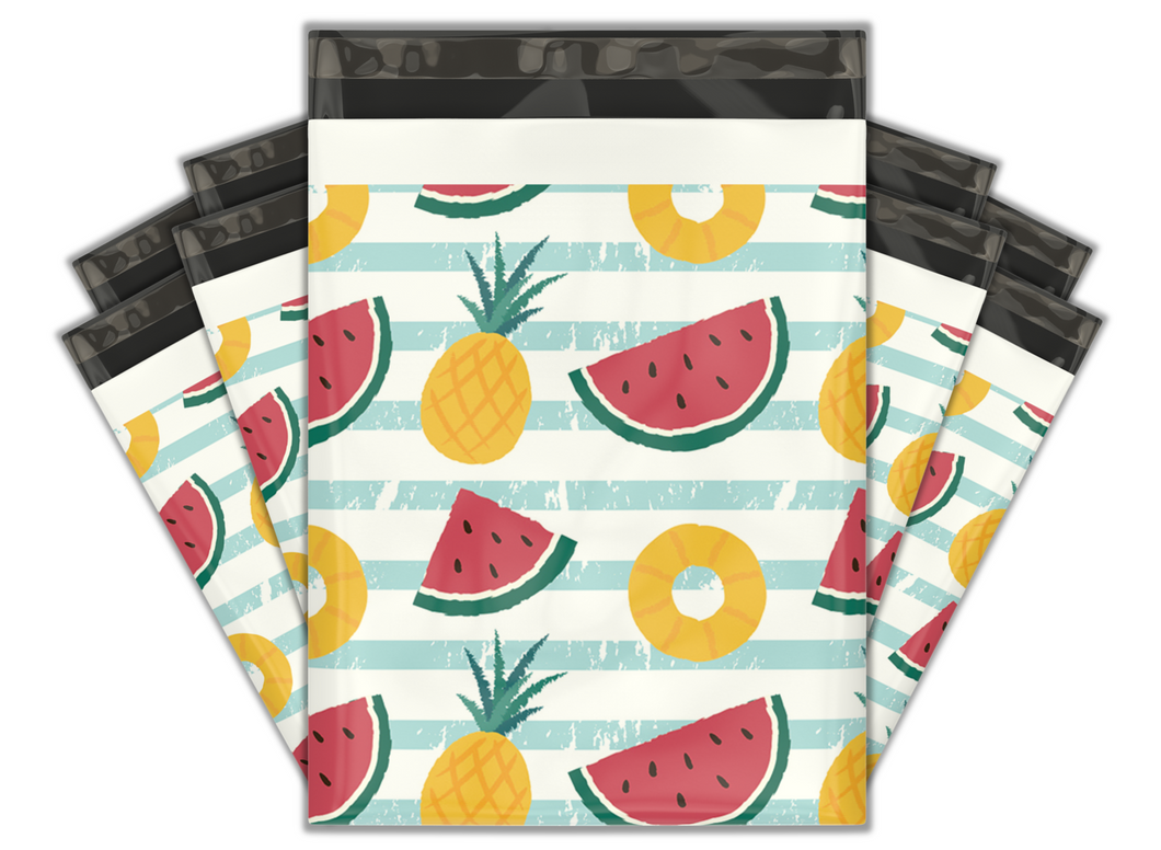 10x13 Pineapple & Watermelon Designer Poly Mailers Shipping Envelopes Premium Printed Bags