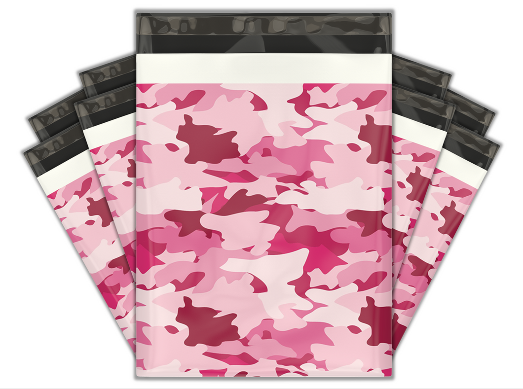 10x13 Pink Camo Designer Poly Mailers Shipping Envelopes Premium Printed Bags