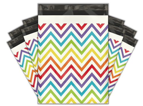 10x13 Rainbow Chevron Designer Poly Mailers Shipping Envelopes Premium Printed Bags