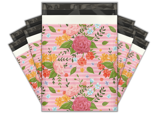10x13 Floral Roses Designer Poly Mailers Shipping Envelopes Premium Printed Bags