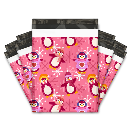 10x13 Pink Penguins Designer Poly Mailers Shipping Envelopes Premium Printed Bags