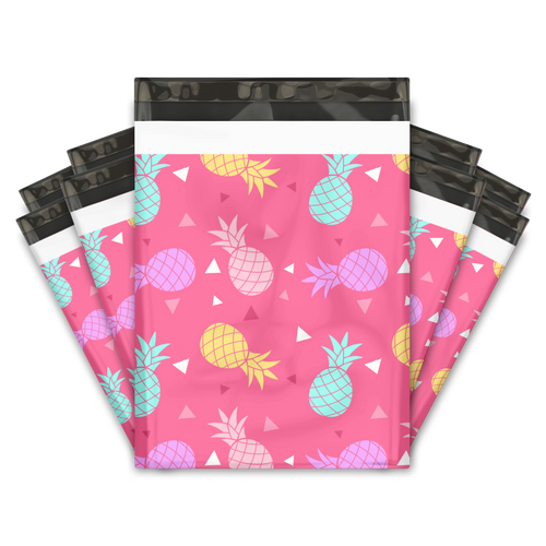 10x13 Pink Pineapple Designer Poly Mailers Shipping Envelopes Premium Printed Bags
