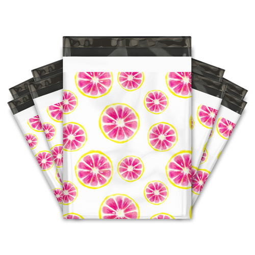 10x13 Pink Citrus Designer Poly Mailers Shipping Envelopes Premium Printed Bags