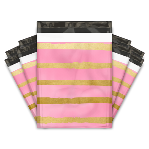 10x13 Pink and Gold Stripes Designer Poly Mailers Shipping Envelopes Premium Printed Bags