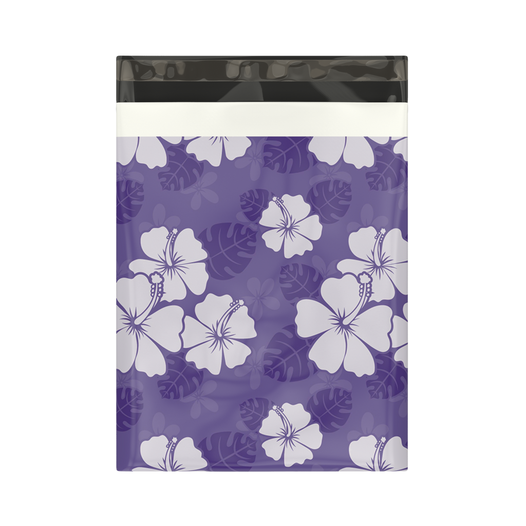 10x13 Purple Hibiscus Flower Designer Poly Mailers Shipping