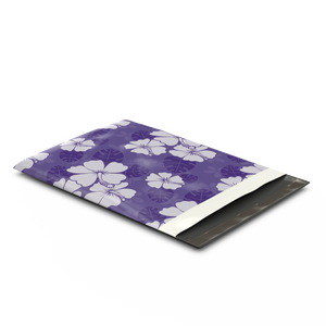 10x13 Purple Hibiscus Flower Designer Poly Mailers Shipping Envelopes Premium Printed Bags