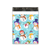 Load image into Gallery viewer, 10x13 Snowmen Designer Poly Mailers Shipping Envelopes Premium Printed Bags