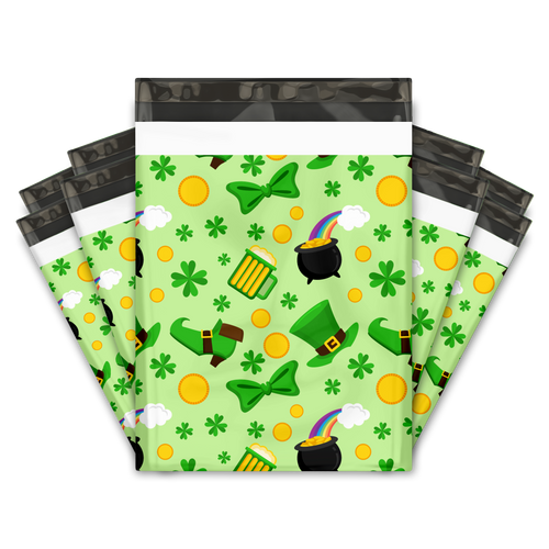 10x13 Lucky Shamrock Designer Poly Mailers Shipping Envelopes Premium Printed Bags