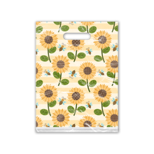 Load image into Gallery viewer, 9x12 Sunflower and Bumble Bees Designer Poly Plastic Merchandise Bags Premium Printed Bags