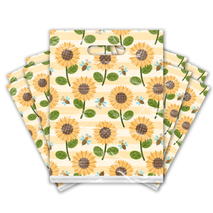 9x12 Sunflower and Bumble Bees Designer Poly Plastic Merchandise Bags Premium Printed Bags