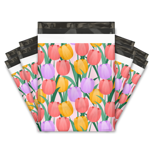 10x13 Trendy Tulips Designer Poly Mailers Shipping Envelopes Premium Printed Bags