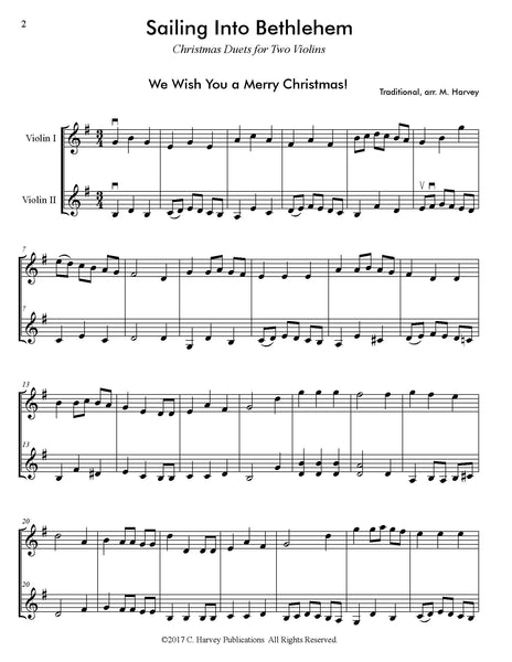 Sailing Into Bethlehem: Christmas Duets for Two Violins - PDF Download
