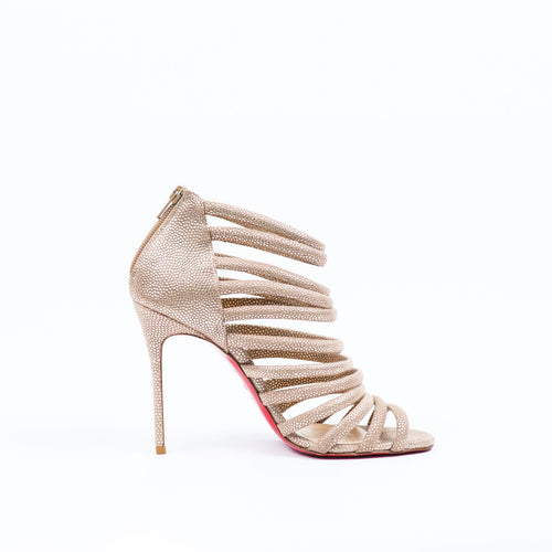 CHRISTIAN LOUBOUTIN Caged Nude Metallic Sandals