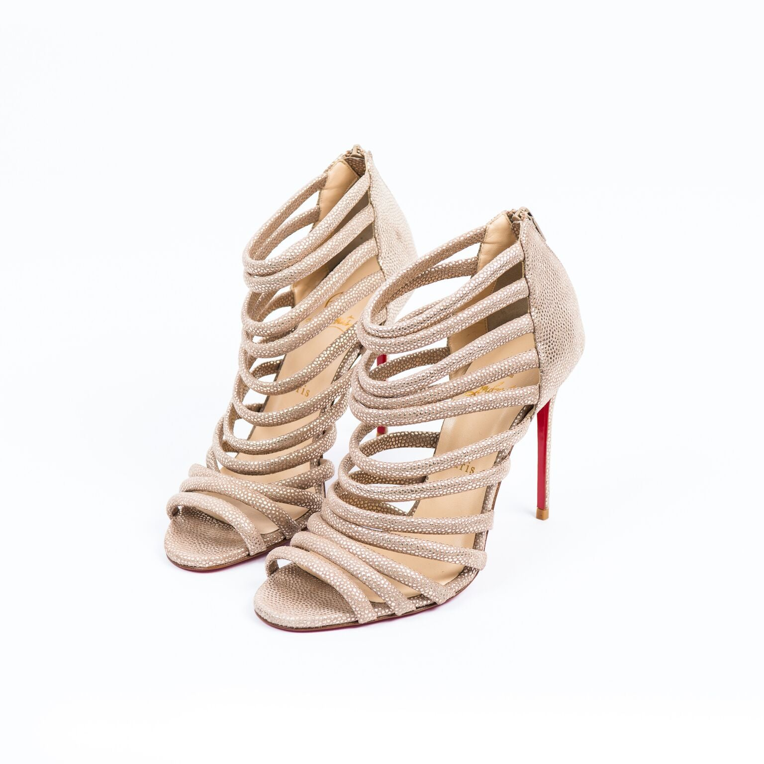0f2d9fc91f8 Buy christian louboutin caged nude metallic sandals online at best jpg  1536x1536 Caged christian louboutin strappy