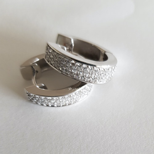 18K Solid White Gold Diamond Hoop Earrings 'Gregory Jewellers' Valuation = $6330
