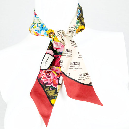 GUCCI Stamp and Flowers Silk Scarf