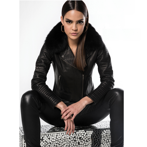 STANZEE Lennox Crop Leather Moto Jacket