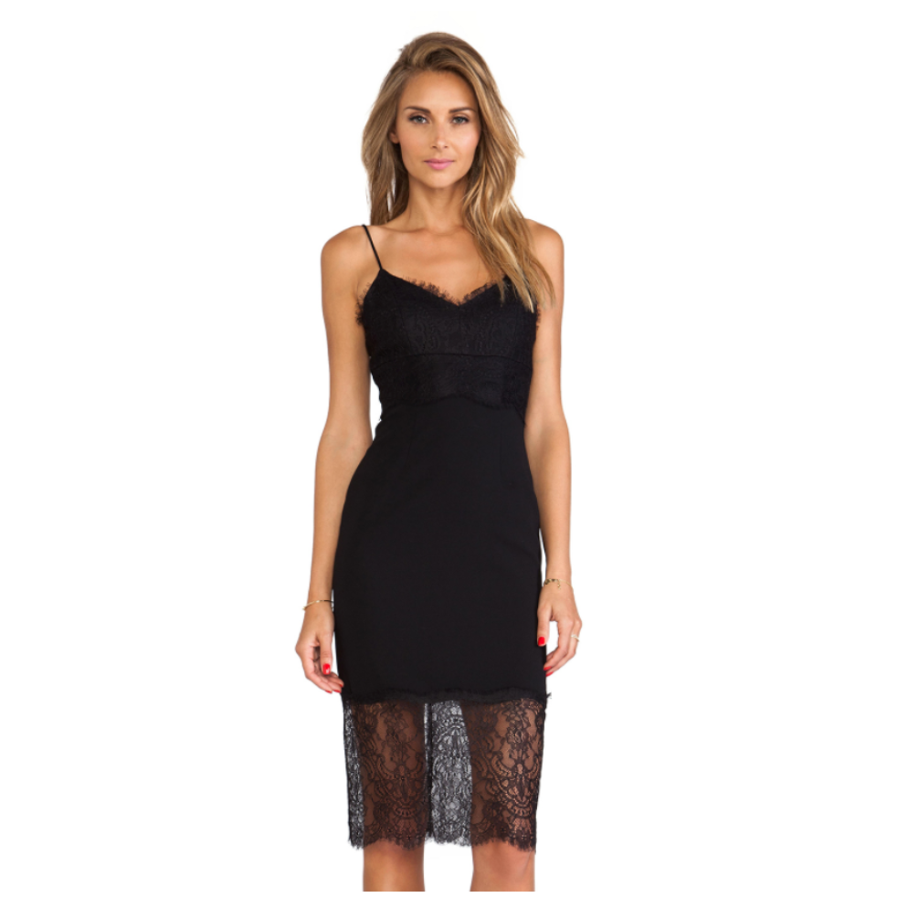 NICHOLAS Lace Trim Crepe Dress