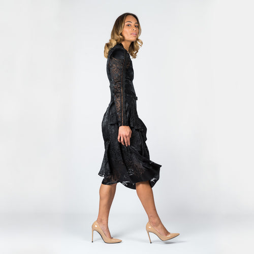 PREEN by THORNTON BREGAZZI Black Lace Dress