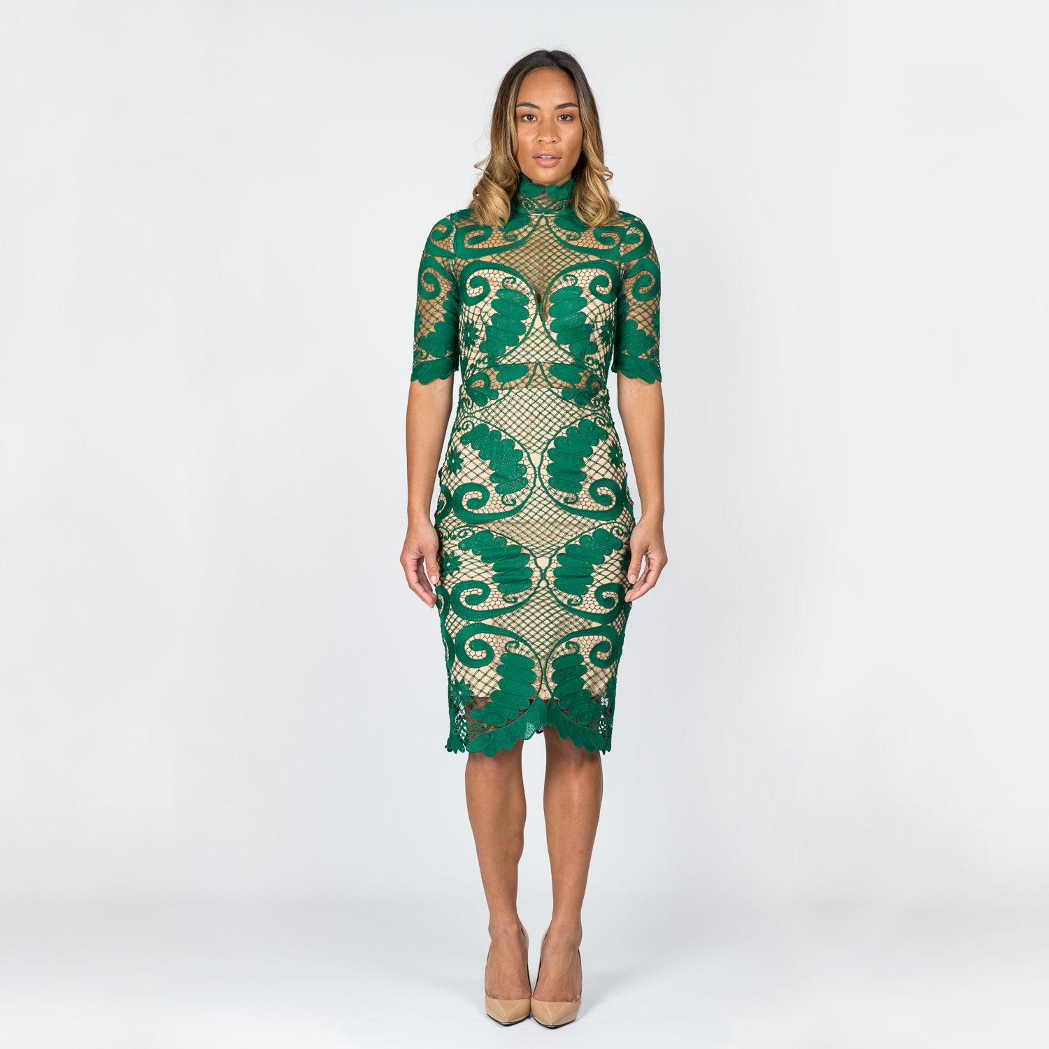 THURLEY 'Babylon' Emerald Pencil Dress